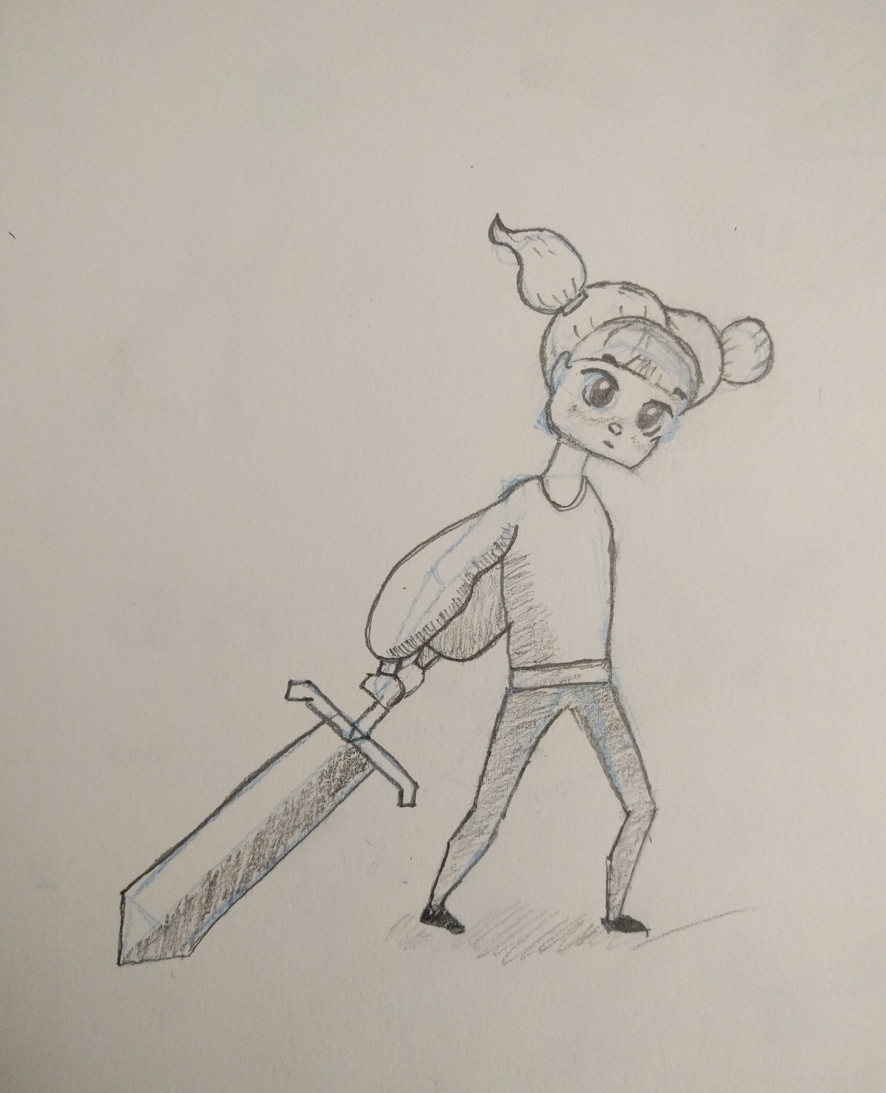 View larger image cartoon girl with huge sword
